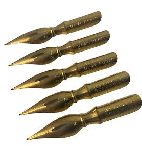 5 Vintage Spencerian AVIATOR No. 43 Gold Pen Nib Dome-Point England