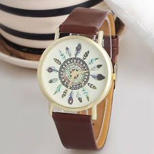 Vintage Feather Dial Leather Band Quartz Analog Unique Women Wrist Watch Brown