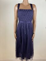 Ladies JACQUES VERT Purple Dress Size 24 Flare Party Wedding Cruise Immaculate