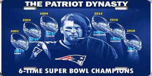 NFL New England Patriots Six-Time Super Bowl License Plate Tom Brady Bill Belick