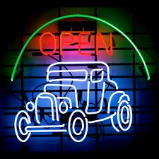 "Vintage Car Open Neon Lamp Sign 17""x14"" Bar Light Garage Cave Glass Artwork"