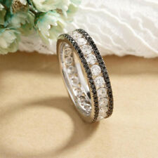Xamas Unique Black Diamond Eternity Band Wedding Ring 14k White Gold Over