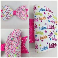 Any Name Party Glitter Hair Bow - 1 X Personalised Glitter Bow