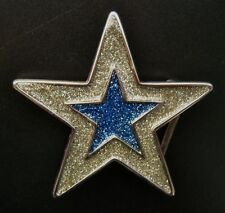 COOL GLITTER DOUBLE SUPER GOLD BLUE 5 POINT STAR BELT BUCKLE BOUCLE DE CEINTURE