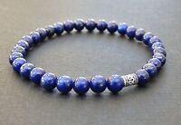 Blue Lapis Lazuli 925 Sterling Silver Spiritual Beads Mens Bracelet SALE
