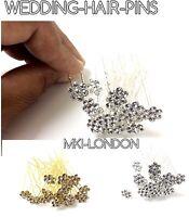 Flower Diamante Crystal Hair Bun Styling Pins Clips Prom Wedding Bridal Party