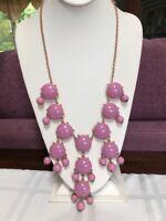 Vintage mauve  pink cabochon Long babe statement necklace W/gold chain
