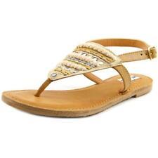 Sandalias y chanclas de mujer planos de color principal crema de lona