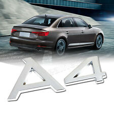 Metal A4 Logo Car Rear Emblem Badge Sticker Decal Fit For Audi Silver