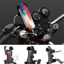 Universal Motorcycle Motorbike Phone Holder Stand X Grip Clamp Mount USB Charge