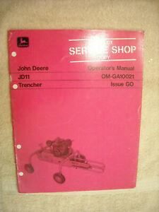 John Deere Operators Manual JD11 Trencher OM-GA10021 Issuse G0