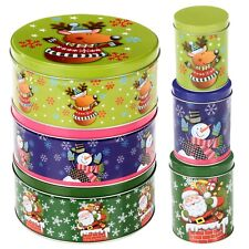 Christmas Jars Storage Tin Container Canisters Tea Coffee Cookie Biscuit Sweets