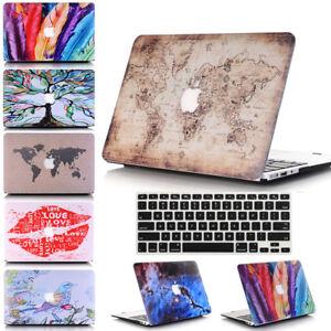 "2in1 World Map Rose Design Marble Matte Hard Case for MacBook PRO 13"" 15""+Retina"