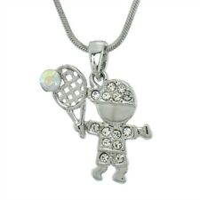 "Tennis Player Boy Made With Swarovski Crystal Sport 18"" Chain Pendant Necklace"