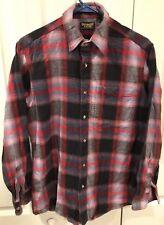 Vintage Oshkosh B'Gosh Mens Heavy Flannel Button Shirt red plaid Size Medium USA