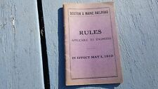 1910 Boston & Maine Railroad Rules Applicable To Engineers Train Book Manual
