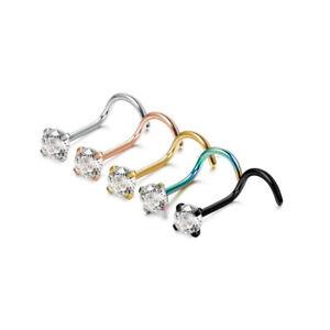 Nose Studs Screw Curve Hook Clear Gem 316L Surgical Steel Claw Pin Bone Piercing