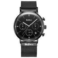 BIDEN Quartz Wrist Watch Chronograph Mesh Stainless Steel Strap Men Watches