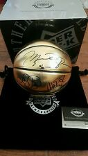 MICHAEL JORDAN, BIRD & MAGIC Signed Gold Molten Trophy Olympic Ball UDA LE 92