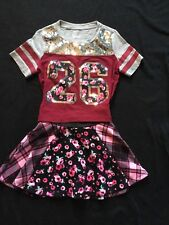 Justice Size 7 Grey/Burgundy Sparkly TEE With Floral Skirt Size 6