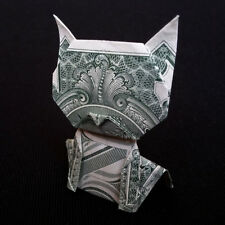 Money Dollar Origami Big Head CAT 3D Sculpture Real $1 Bill Miniature Small Gift