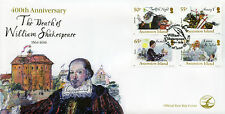 Ascension Island 2016 FDC William Shakespeare 400th Memorial 4v Set Cover Stamps