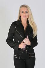 Women's Ladies Textured Crop Bomber Zip Detail Button Jacket Coat size 8-14