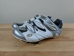 GIRO SANTE Women's Road Bike Cycling Shoes White/Silver/Gold Size 6.25 + Cleats