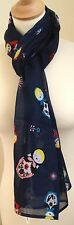 BLUE  RUSSIAN DOLL/BABUSHKA/MATRYOSHKA DOLL 100% COTTON PRINT SCARF BY JUNIPER