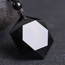 Black Hexagram Obsidian Pendant Cubic Natural Stone Beads Necklace Jewelry Gift