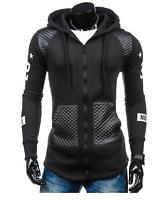 Mens Street Style Biker Hoodie, Black/S