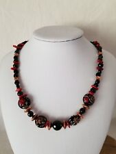 Grace Lampwork Copper Shadow Floral And Black Tourmaline Beaded Necklace