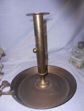 Vintage Huge Brass Candle Stick Holder w/  Finger Hole Loop & Adjustable Push up