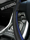 FOR RILEY RM SERIES 1945-55 TRUE LEATHER STEERING WHEEL COVER BLUE DOUBLE STITCH