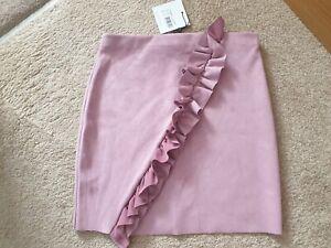 Dusky Pink Missguided Ruffle Mini Skirt 10 New