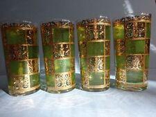 CULVER LTD 4 PRADO Green 22K Gold Highball Glasses + Oil & Vinegar Cruet Set