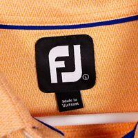 Footjoy FJ Prodry Mens L Light Orange Chevron Pattern Polyester Polo Golf Shirt