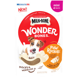 Milk-Bone Wonder Bones Paw Rockers with Real Chicken,1-Bag 4 Treats Mini