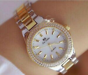 Ladies Women's Gold & Silver Crystal Watch, Designer Dress Watch, + Watch Box