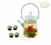 Glass Teapot Heat Resistant For Blooming tea 350ml/12oz + 4 Blooming Tea