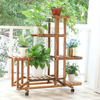 Corrosion Proof 3 Tier A-Shaped Pine Wood Plant Stand Rolling Flower Pot Shelf