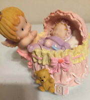 Beautiful Vintage Music Box Angel with Baby Girl And Teddybear Pink