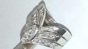 14k White Gold 3 Arrow Shape Rows EREV Diamond Ring .50 Carate