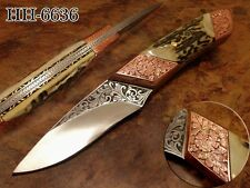 OZAIR CUSTOM MADE 1-OF-A-KIND 3 D HANDMADE ENGRAVING WORK D2 BLADE KNIFE HH-6636