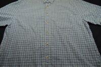 Eddie Bauer Green Black White Grid Xl Cotton Short Sleeve Men's Shirt