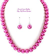Fashiontastes Classic Hot Pink Fuchsia Pearl Single Strand Costume Necklace Set