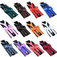 Fashion Unisex Adjustable Suspenders Suit Tie Bowtie Bow Set Clip on Charm