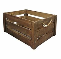Vintage Aged Weathered Farm Shop Style Wooden Open Slatted Apple Crate Display