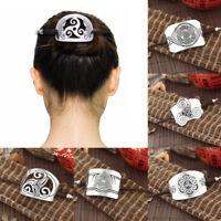 Women Lady Wooden Carved Hair Stick Barrette Bun Pin Clip Zinc Alloy Updo Tools