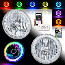 "7"" Bluetooth RGB SMD LED Color Chasing Halo Shift Angel Eye H4 Headlight Pair"